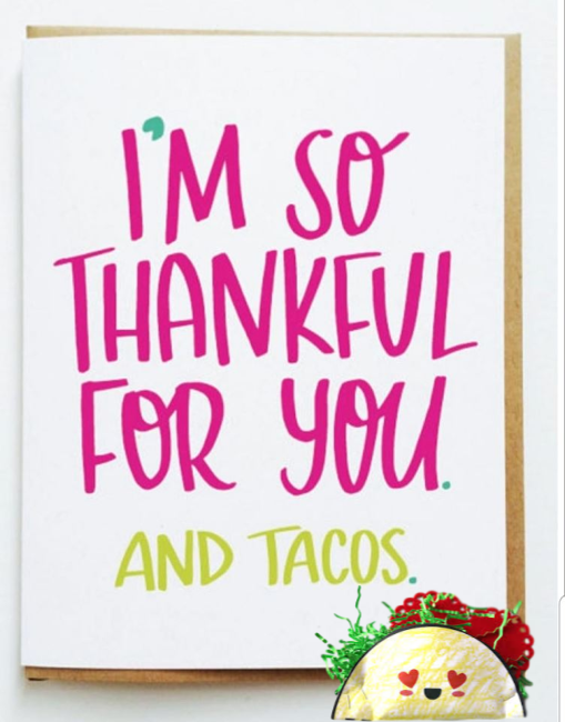 celebrating tacos and card making